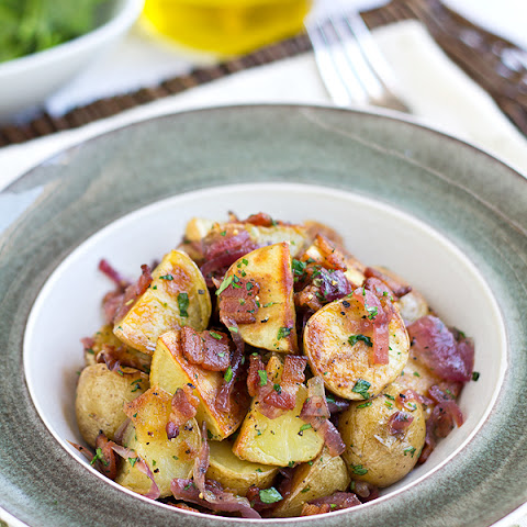 ... Potato Salad with Crispy Bacon, Caramelized Red Onions and Warm Bacon