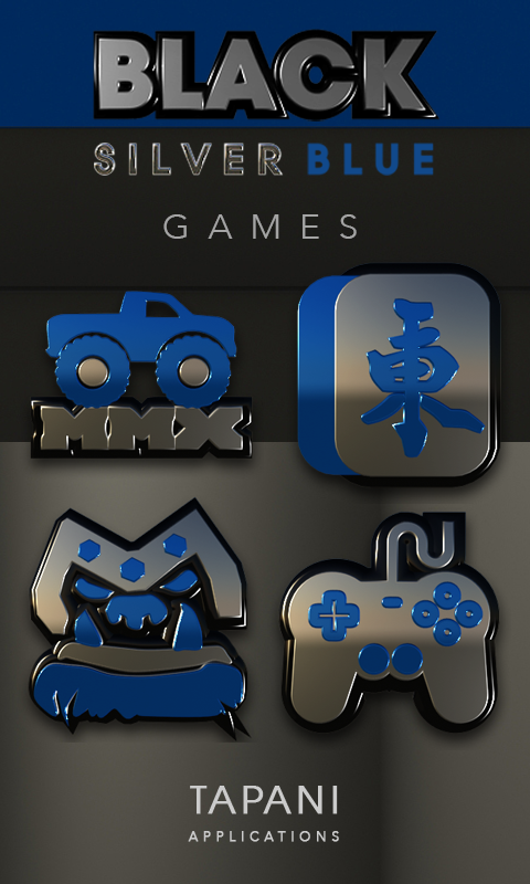 Black silver blue Icon Pack 3D Screenshot 1