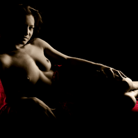 Andria on the couch by Vineet Johri - Nudes & Boudoir Artistic Nude ( art nude, topless, couch, vkumar phtography, selective coloring, beautiful girl )