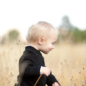 Little Boy in the Fall Grass by Leah Manzari - Babies & Children Children Candids ( field, blonde, grass, fall, toddler, boy, young )