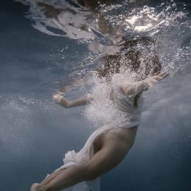 Weightlessness by Dmitry Laudin - Nudes & Boudoir Artistic Nude ( dress, underwater, dive, girl, water, swim )