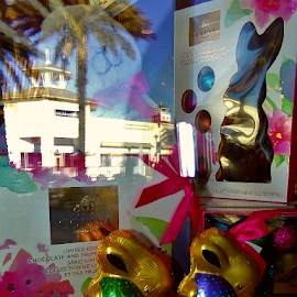 Easter Bunny Window Shopping by Cheryl Beaudoin - Public Holidays Easter ( godiva, chocolate, easter, bunny, window, shopping )