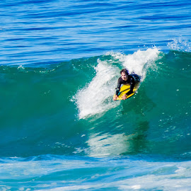 Catching the wave by Simon Shee - Sports & Fitness Surfing ( bellyboard, surfing, south africa, water, hermanus area )