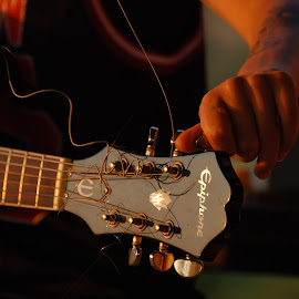 by Pixie Simona - Artistic Objects Musical Instruments ( musical instrument, band, guitarist, guitar, golden hour,  )