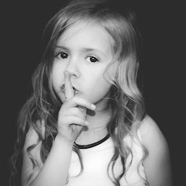 Shhhh by Love Time - Babies & Children Child Portraits ( child, girl, black and white )