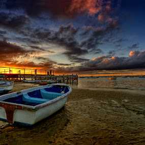 Sandbanks by Pawel Tomaszewicz - Landscapes Waterscapes ( canon, clouds, water, sand, uk, europe, hdr, waterscape, landscape, boat, england, poole, great, sky, sunset, tide, sunrise, low, light, britain, doset )