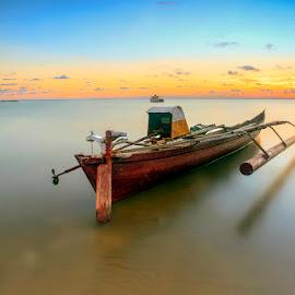 Back from work... by Iccang Ninol - Transportation Boats ( sunset, beach, seascape, boat, landscape )