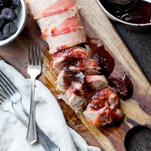 Prosciutto Wrapped Pork Tenderloin with Fig Sauce
