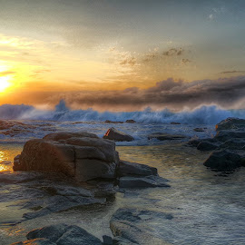 Beach sunrise by Duard  Bateman - Landscapes Beaches ( clouds, reflection, waves, beach, sunrise, rocks )