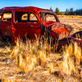 Final Resting Place by Mike Lee - Transportation Automobiles ( automobiles, car, orange, grass, automobile, yellow, rusty, forgotten, wavy, red, painterly, cars, artistic, auto, surreal, rust, oil paint, antique, golden, decay )