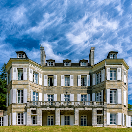 Locguenole Castle by Robert Namer - Buildings & Architecture Homes ( cloud formations, clouds, houses, sky, blue sky, blue, cloudy, castle, travel, architecture )
