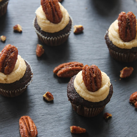 Chocolate Pumpkin Cupcakes with Brown Sugar Frosting