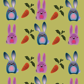 by Deemarie Valenza - Illustration Abstract & Patterns ( cartoon, pattern, vector, carrots, cute, bunnies )