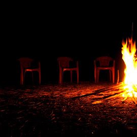 Three Cheers for three chairs by Kushal Ghosh - Abstract Fire & Fireworks ( chairs, fire )