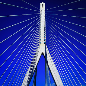 The Bridge Monster by Andy Young - Buildings & Architecture Bridges & Suspended Structures ( north wales, leading lines, blue sky, war of the worlds, architecture, flintshire bridge )