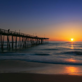 Sunrise Nags Head Dock by Norma Brandsberg - Buildings & Architecture Bridges & Suspended Structures ( www.elegantfinephotography.com, award winning, nbrandsberg@gmail.com, photo, photographer, norma brandsberg, photography,  )