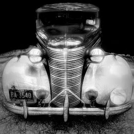 Classic Car by Dave Walters - Black & White Street & Candid ( crusin the coast, car, black and white, lumix fz2500, colors )