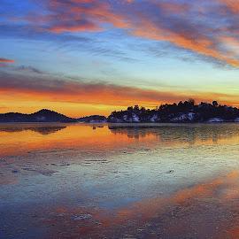 Sunset in january....... by Roger Gulle Gullesen - Landscapes Sunsets & Sunrises