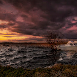 Lough Derravaragh County Westmeath by Willie Forde - Landscapes Waterscapes ( clouds, ireland, westmeath, lake, boat, lough derravaragh county westmeath )