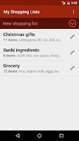 Screenshot of Shopping Lists (with widget)