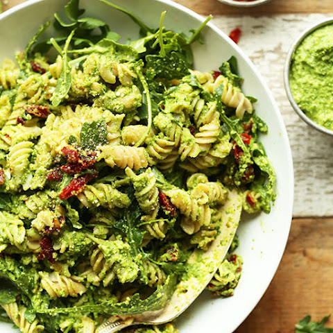 Pea Pesto Pasta with Sun-Dried Tomatoes & Arugula (Vegan + GF)