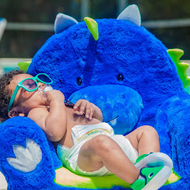 Chubby Monster 5 by Malik Marcell - Babies & Children Babies ( shades, monster, pool, blue, florida, infant, chubby, baby, relaxing, orange juice, gerber, kairo )