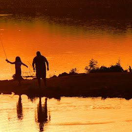 Day with Dad by Cecilia Sterling - People Family ( sunset, fathers day, lake, fishing, evening )
