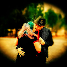 Married 20 years and still kissing by Angela Bono - People Couples ( kissing, married, retro, couple, still in love )