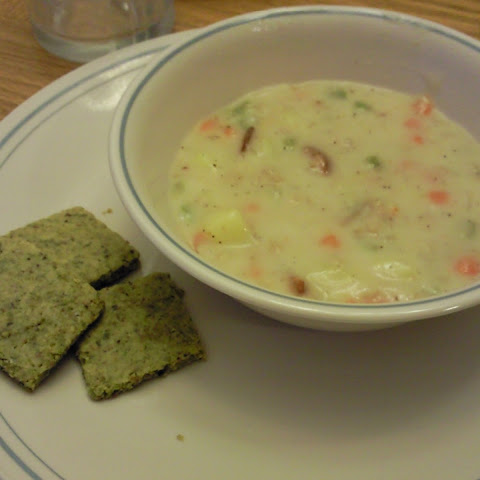 Clam Chowder with Salty Pistachio Flatbread Crackers