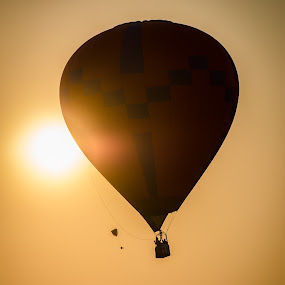 Burn in by Fitz C - Transportation Other ( hot air, paragliders, sky, silhouette, sunrise, morning, balloon, flare, sun )