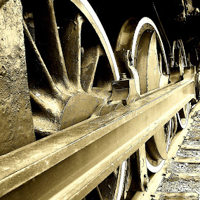 IRON HORSE by Steve Cooper - Transportation Trains ( metal, wheels, track, ties, spokes )
