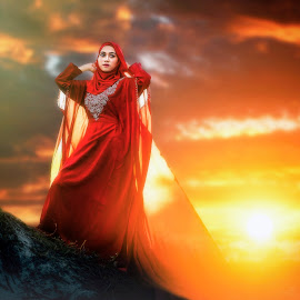 Triggering The Dusk by MSR Photography - People Portraits of Women ( model, sky, red, sunset, talent, cloud, sun )