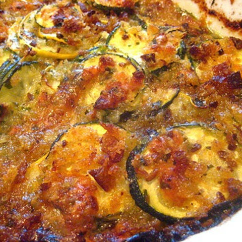 Summer Squash Gratin w/ Salsa Verde & Gruyere Cheese (adapted from Sunday Suppers at Lucques)