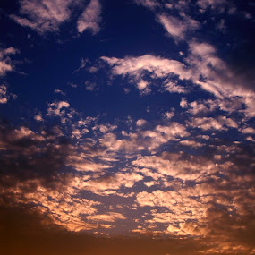 Clouds by Justin Dart - Landscapes Weather ( red, sky, blue, sunset, cloud, yellow )