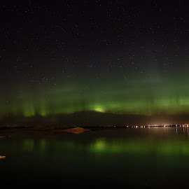 Mt Northern Lights by Laura Gardner - Novices Only Landscapes ( lights, green, nd, northern lights, lake sakakawea )