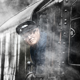 The Train Driver by Dave Smith - People Portraits of Men ( selective colour, railway, black and white, engine, driver, portrait, trains, steam )