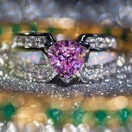 Heart Ring by Jin Ko - Artistic Objects Jewelry ( ring, heart, blue, pink, gold, bokeh )