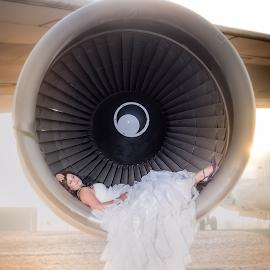 747 Bride by 228 Photography - Wedding Bride ( wedding photography, plane, dress, motor, bride, portrait )