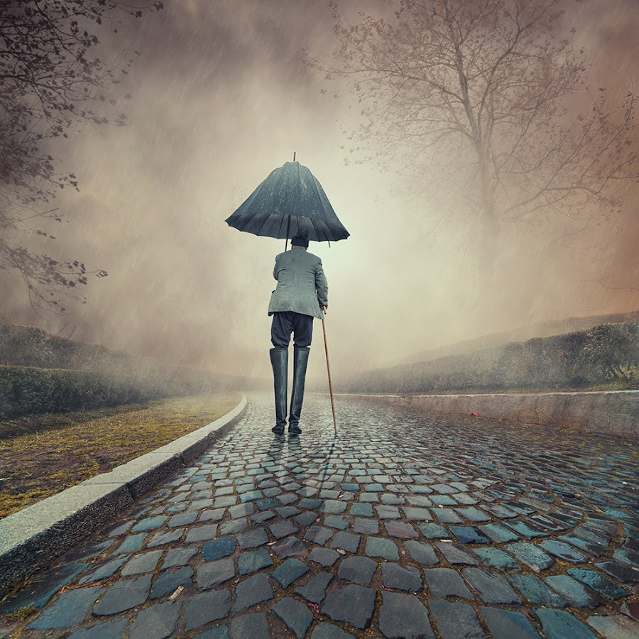 Over protected by Caras Ionut - Digital Art People ( old, tutorials, cementary, umbrella, avatar, manipulation, waliking, psd, cold, fog, woman, dark, night, boots, man, rain, photoshop, mist )
