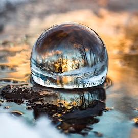 Winter Globe by Kyle Re - Artistic Objects Glass ( water, ball, kylerecreative, fine art, vibrant, crystal, glass art, contrast, macro, fineart, winter, orb, color, sunset, snow, glass, puddle, globe, golden hour,  )