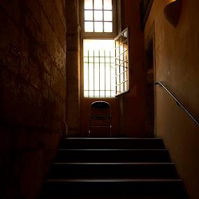 BEYOND... by Adrian Penes - Travel Locations Landmarks ( orange, stairs, bars, chiar, france, low light, museum, light )