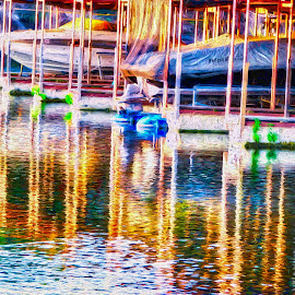 Marina Sunrise by Allen Crenshaw - Digital Art Places ( computer, water, photograph, colors, digital art, boats, sunrise, marina, morning, impressionism )