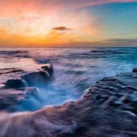 Sunset in Palmachim beach by Tzvika Stein - Landscapes Waterscapes ( waterscape, sunset, palmachim, sea, beach )