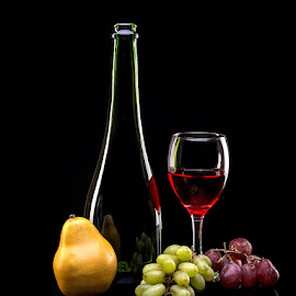 Still Life with wine and fruit.. by Rakesh Syal - Food & Drink Alcohol & Drinks