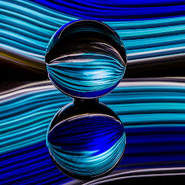 Wave zone by Tammy Scott - Abstract Light Painting ( mirrored reflections, led, blue, teal, long exposure, black )