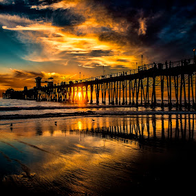 Oceanside Pier by Alan Crosthwaite - Landscapes Beaches ( water, oceanside, southern california, sea, tourism, travel, beach, coastal, beaches, san diego, piers, pier, wooden piers )