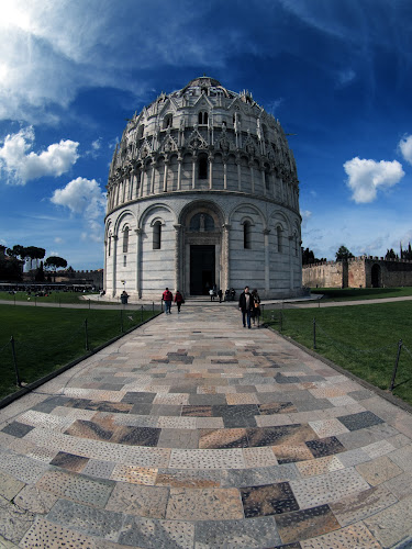 Baptistry, Pisa, Italy by Peter Greenhalgh - Travel Locations Landmarks ( clouds, blue sky, pisa, wide-angle, italy, baptistry )