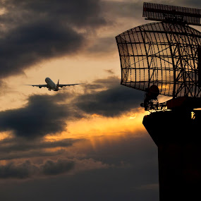 hate goodbyes by Rob Jarvis - Transportation Airplanes ( flying, flight, plane, sunset, aircraft, goodbye, cloud, weather, radar, sunrise, travel )