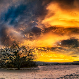 At sunset by Plamen Petkov - Landscapes Sunsets & Sunrises ( clouds, winter, sky, colorful, colors, sunset, landscape )
