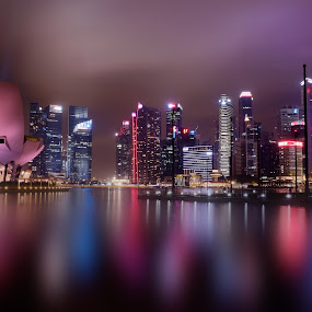 Lovely Reflections by Ferdinand Ludo - City,  Street & Park  Night ( nighttime in singapore, can't get enough, night shot, light reflects the water,  )